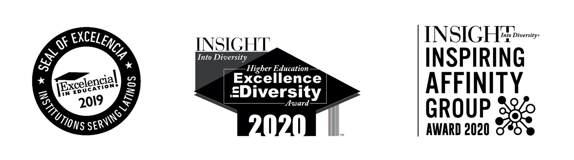 2019 Seal of Excelencia, 2020 Insight Into Diversity Higher Edcuation Excellence in Diversity Award, 2020 Insight Into Diversity Inspiring Affinity Group Award